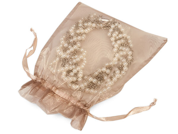 "Toffee Organza Favor Bags, 7x9"", 10 Pack"