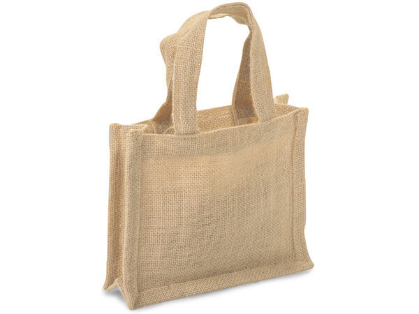 "Natural Brown Burlap Tote Shopping Bags, Small 7x2.75x6"", 6 Pack"