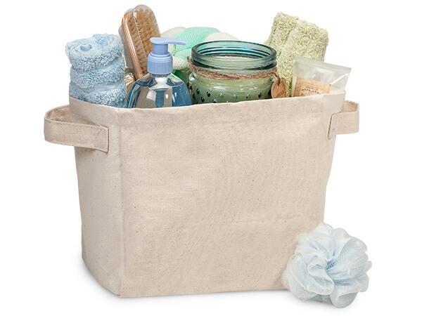 """Cotton Canvas Container, 9x7x9"""", Heavyweight with Side Handles"""