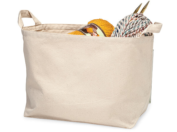 "Cotton Canvas Container, 13x8x11"" Heavyweight with Side Handles"