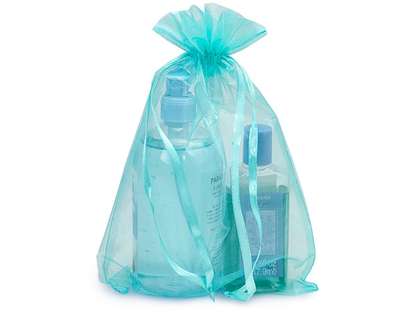 "Aqua Blue Organza Favor Bags, 8x11"", 10 Pack"
