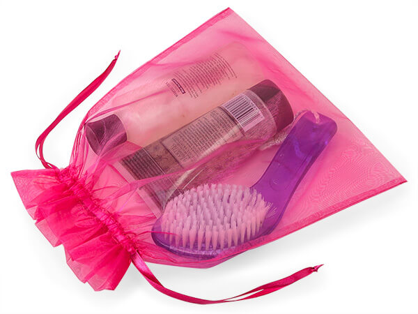 "Hot Pink Organza Favor Bags, 10x12"", 10 Pack"