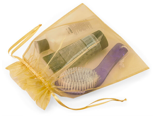 """Gold Organza Favor Bags, 10x12"""", 10 Pack"""