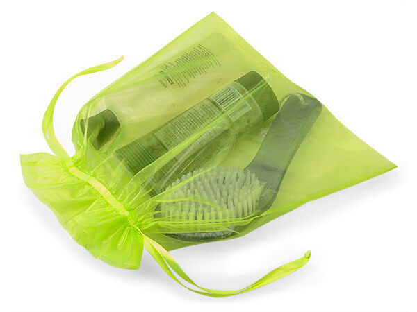 "*Citrus Green Organza Favor Bags, 10x12"", 10 Pack"