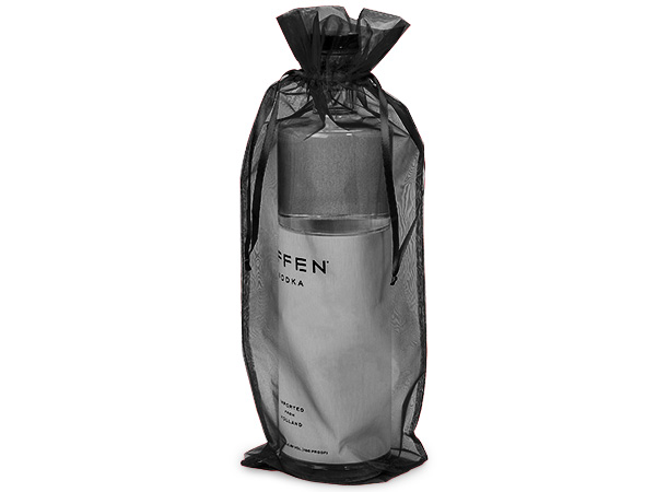 "*Black Organza Wine Bags, 8x19"", 10 Pack"
