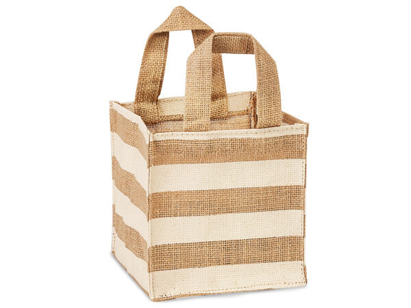 "Ivory Stripe Burlap Bag, 6x6x6"", with plastic lining"