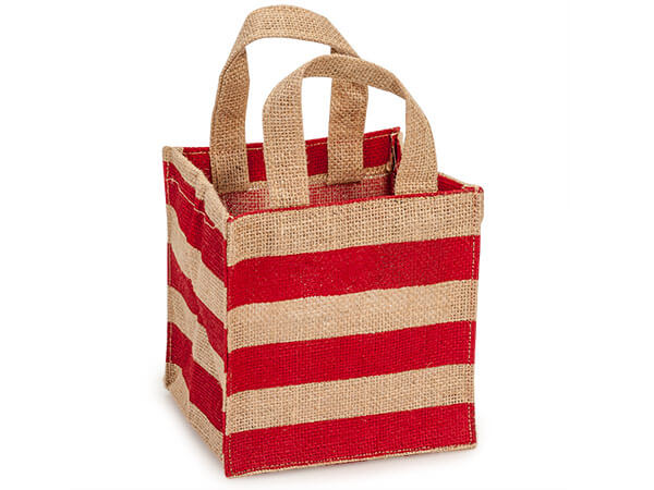 Red Stripe Laminate Lined Burlap Container