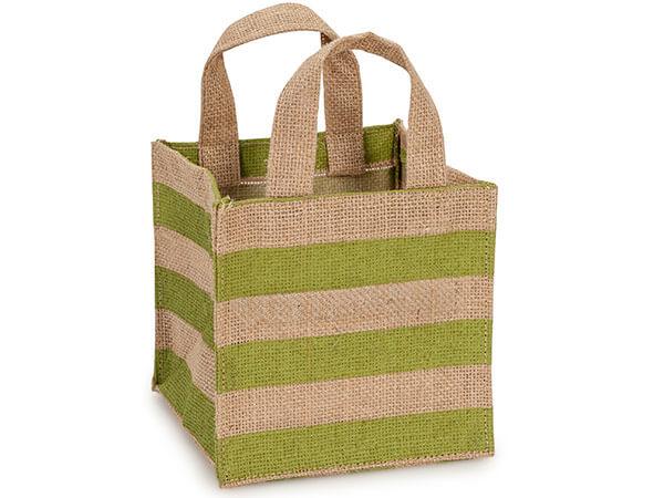 "Leaf Green Stripe Burlap Bag 6x6x6"" with plastic lining"