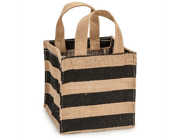 "Black Stripe Burlap Bag 6x6x6"" with plastic lining"