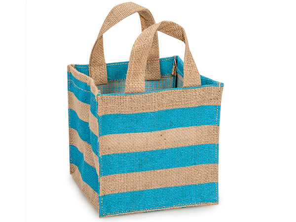 "Turquoise Stripe Burlap Bag 6x6x6"" with plastic lining"