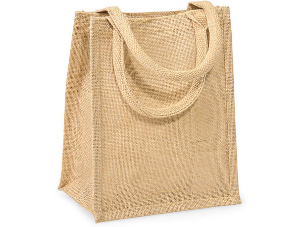 "Natural Brown Burlap Tote Shopping Bags, Medium 9x4x11"", 6 Pack"