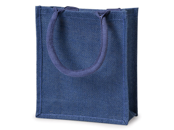 "*Reusable Navy Burlap Tote Shopping Bag, Large 9x4x11"", 6 Pack"