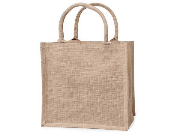 "Reusable Natural Brown Burlap Tote Bags, Large 12x7.75x12"", 6 Pack"