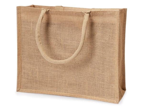 "Natural Brown Burlap Tote Shopping Bags, X-Large 15.5x6x13.75"", 6 Pack"