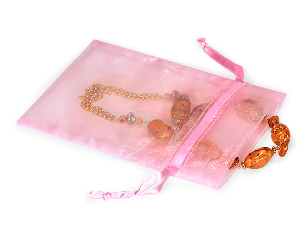 """Pink Organza Favor Bags, 5x7"""", 10 Pack"""