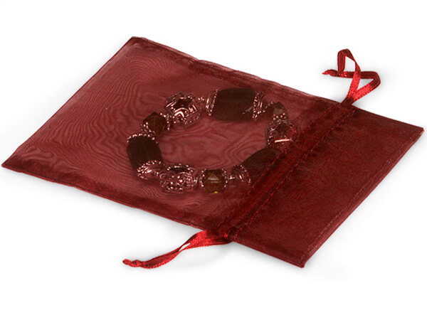 Burgundy Sheer Organza bags