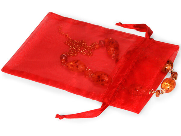 "Red Organza Bags 5x7"" 5x7"", 10 Pack"