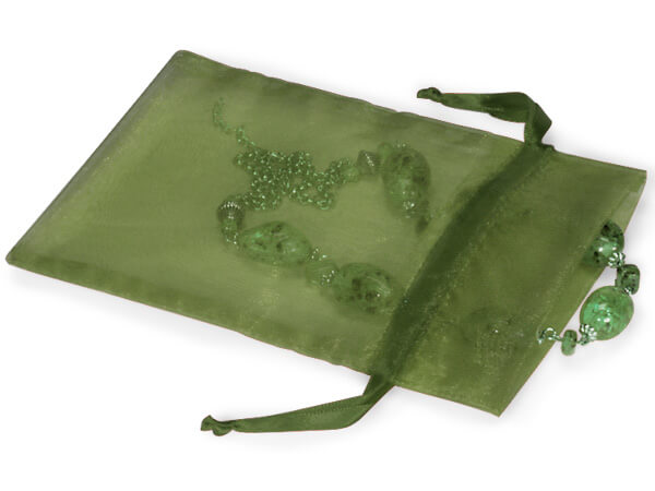 "Moss Green Organza Favor Bags, 5x7"", 10 Pack"