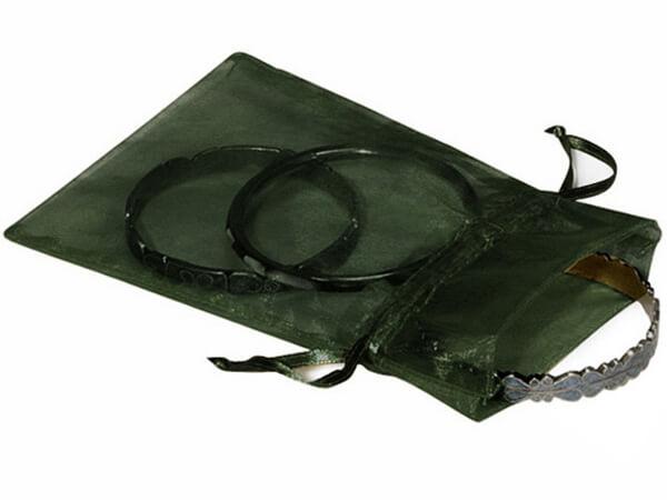 "Hunter Green Organza Favor Bags, 5x7"", 10 Pack"