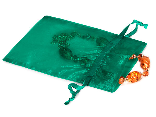 "Teal Green Organza Favor Bags, 5x7"", 10 Pack"