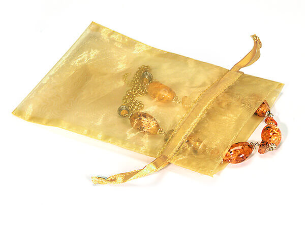 "Gold Organza Favor Bags, 5x7"", 10 Pack"
