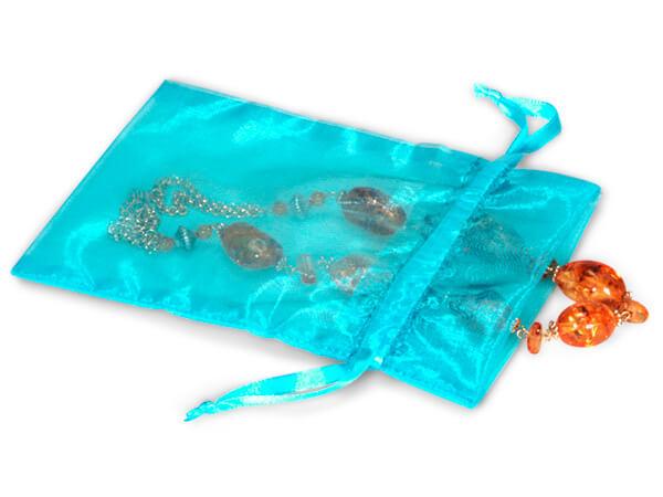 """Aqua Blue Organza Favor Bags, 5x7"""", 10 Pack"""