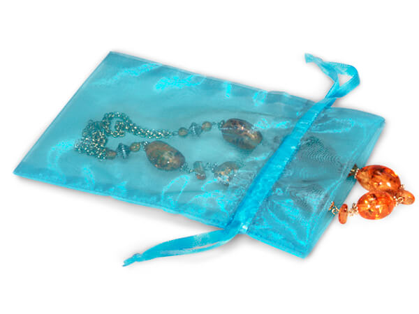 "Robins Egg Blue Organza Favor Bags, 5x7"", 10 Pack"