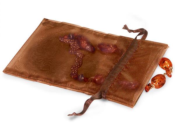 "Chocolate Brown Organza Favor Bags, 5x7"", 10 Pack"