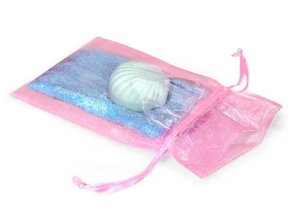 """Pink Organza Favor Bags, 6x10"""", 10 Pack"""