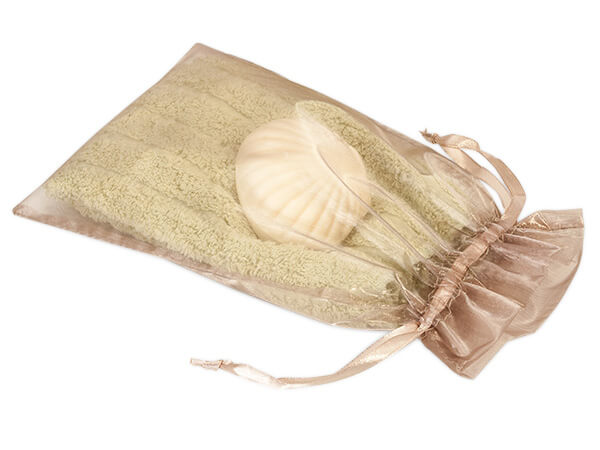 "Toffee Organza Favor Bags, 6x10"", 10 Pack"