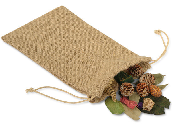 "Burlap Favor Drawstring Bags, Medium Tall 6x10"", 12 Pack"