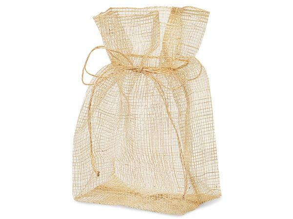 """Natural Sinamay Drawstring Favor Bag, 4x3x7"""", 12 Pack"""