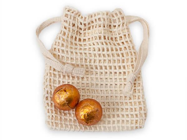 """Cotton Net Drawstring Bag, X-Small 3x4"""", 12 Pack"""