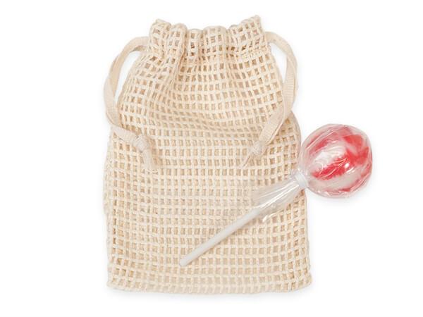 """Cotton Net Drawstring Bag, Small 4x6"""", 12 Pack"""