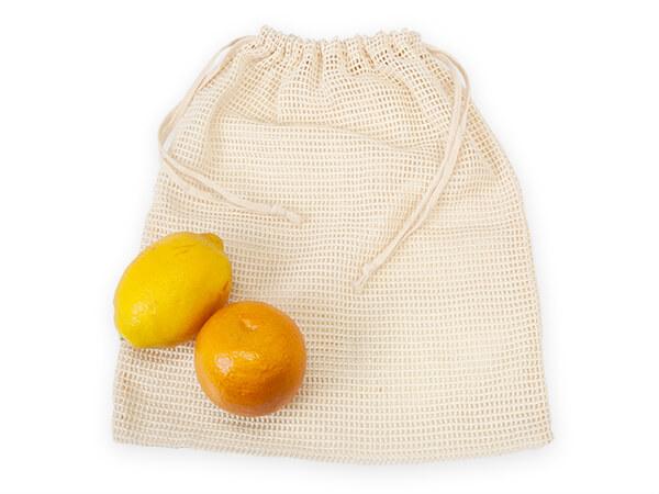 """Cotton Net Drawstring Bag, Large 12x15"""", 12 Pack"""