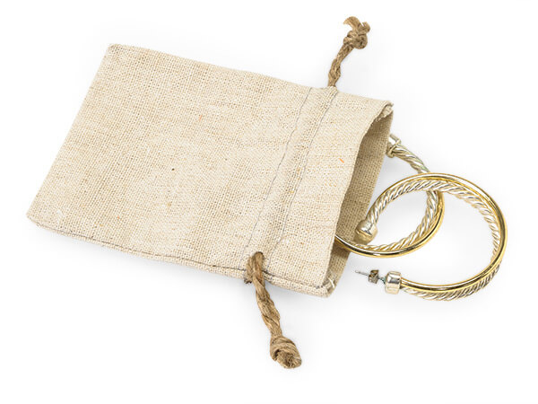 "Linen Favor Bags with Drawstrings, X-Small 3x4"", 12 Pack"