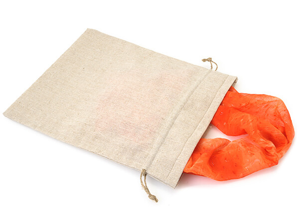 "Linen Favor Bags with Drawstrings, Large 12x14"", 12 Pack"