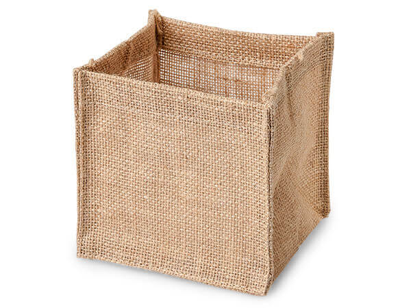 Natural Burlap Jute Container with Clear Plastic Lining, 5x5x5""