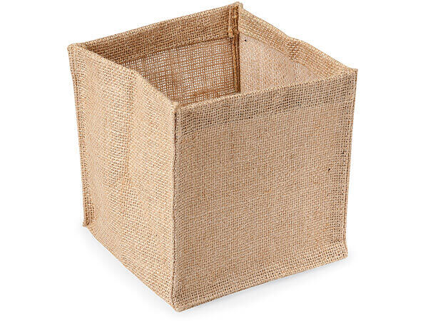Natural Burlap Jute Container with Clear Plastic Lining, 6x6x6""