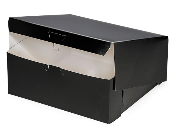 "10x10x4"" Black Licorice Bakery Box 1-piece Lock Corner Box"