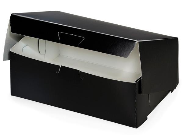 "8x5-1/2x3"" Black Licorice Bakery 1-piece Lock Corner Box"