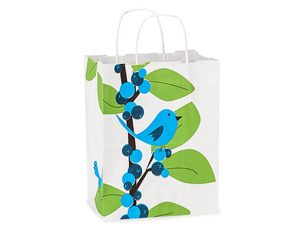 Cub Blue Bird Berries White Kraft Paper Bags 250 8x4-3/4x10-1/4""