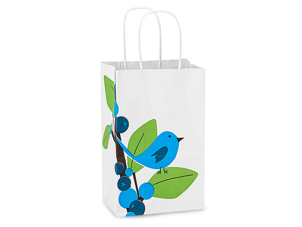 Rose Blue Bird Berries White Kraft Bags 25 Pk 5-1/2x3-1/4x8-3/8""