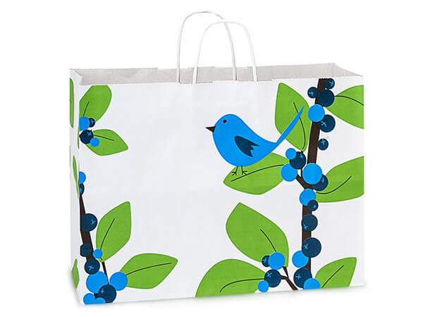 Vogue Blue Bird Berries White Kraft Paper Bags 25 Pk 16x6x12""