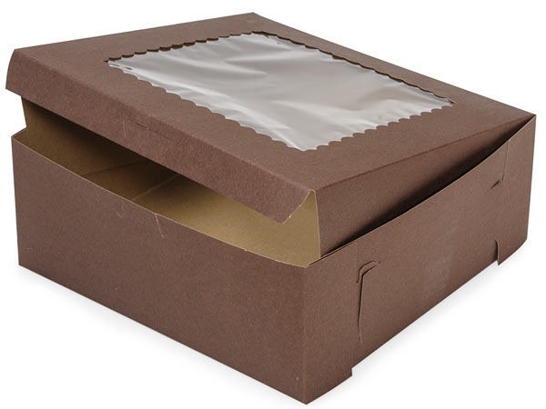 "10x10x4"" Chocolate Window Bakery 100 Pk 1-piece Lock Corner Box"