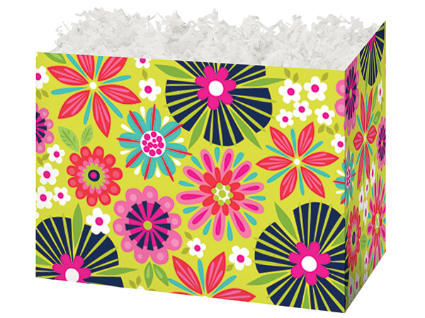"""*Large Bright Blooms Basket Boxes 10-1/4 x 6 x 7-1/2"""""""