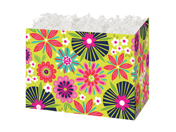 *Small Bright Blooms Basket Boxes 6-3/4 x 4 x 5""
