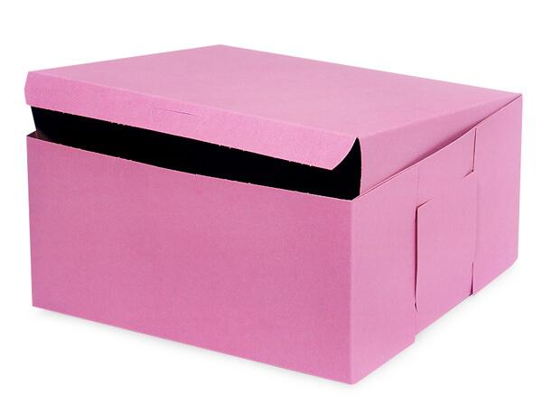 "10x10x5"" Pink Bakery & Cupcake Box 100 Pk 1-piece Lock Corner"