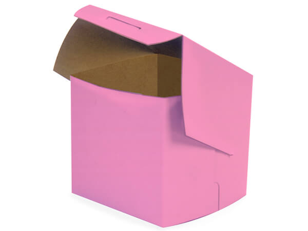 "4x4x4"" Pink Cupcake Bakery Boxes 200 Pk 1-piece Lock Corner Box"