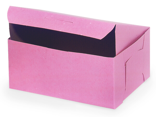 "6-1/4x3-3/4x2-1/8"" Pink Boxes 250 Pk 1-piece Lock Corner Box"